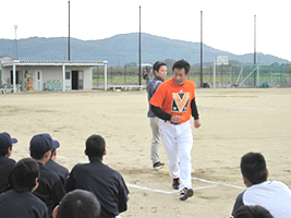 宮本和知氏・中学生軟式野球教室